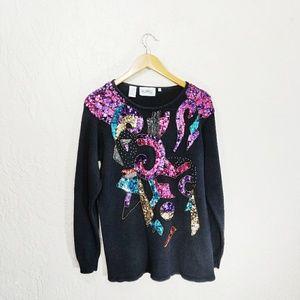 Vintage Affinity Sequin Embellished Sweater Medium